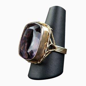 Vintage Ring aus Gelbgold & Amethyst, 1940er