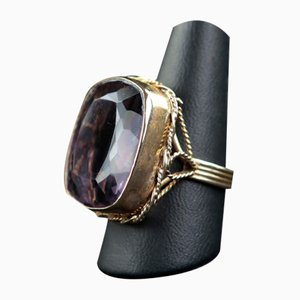 Vintage Yellow Gold and Amethyst Ring, 1940s