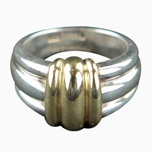 Vintage Sterling Silver and 18 Carat Yellow Gold Ring from Tiffany & Co., 1980s