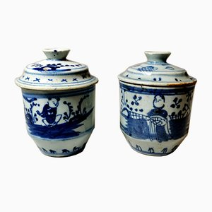 18th Century Chinese Hand Painted Porcelain Jars, Set of 2