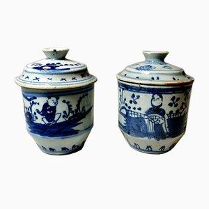 Pots en Porcelaine Peinte à la Main, Chine, 18ème Siècle, Set de 2
