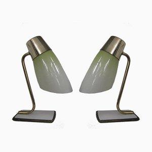 Lámparas de mesa Mid-Century de vidrio y latón, años 50. Juego de 2