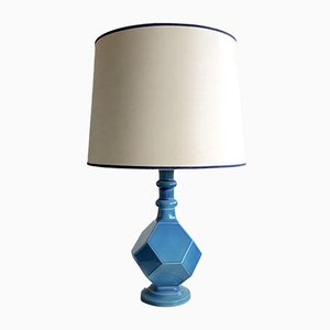 Blue Ceramic Geometric Table Lamp, 1960s