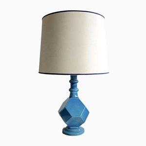 Geometrische Blaue Keramik Tischlampe, 1960er