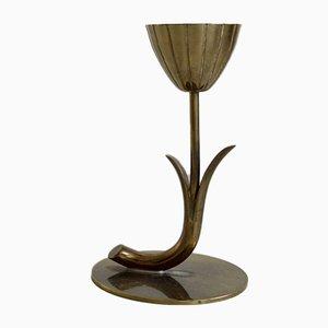 Candelabro Tulip de latón de Gunnar Ander para Ystad-Metall, años 60