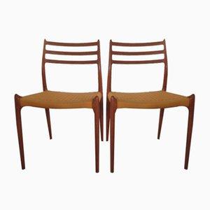 Sedie da pranzo nr. 78 in teak di Niels Otto Møller per JL Møllers, anni '60, set di 2