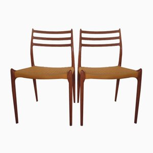 Teak Model 78 Dining Chairs by Niels Otto Møller for J.L. Møllers, 1960s, Set of 2