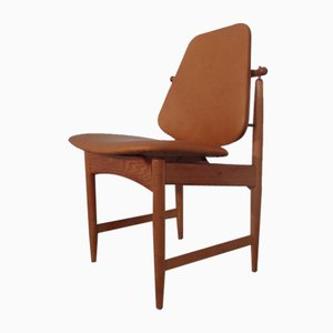 Teak and Brass Side Chair by Arne Hovmand-Olsen for Mogens Kold, 1950s