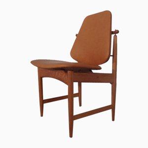 Teak and Brass Side Chair by Arne Hovmand-Olsen for Mogens Kold, 1950s