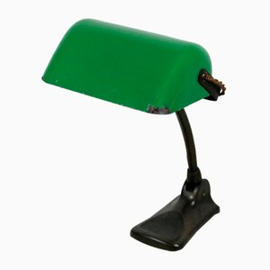 Art Deco Bankier Lampe in Grün und Schwarz von LUX, 1920er