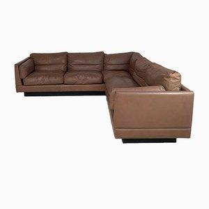 Tan Leather Corner Sofa by Erik Jorgensen for Thams Denmark, 1970s