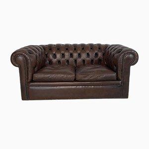 Britisches Vintage Chesterfield Sofa aus Braunem Leder, 1960er