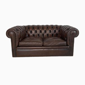 Vintage British Brown Leather Chesterfield Sofa, 1960s