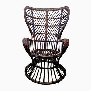 Vintage Armlehnstuhl aus Rattan von Gio Ponti