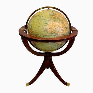 Large Globe on Mahogany Stand from Girard, Barrère et Thomas, 1930s