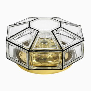 Large Octagon Glass Ceiling Lamp from Limburg, 1970s