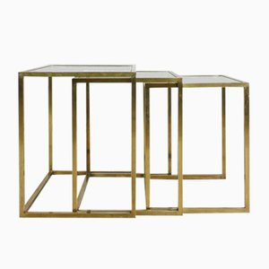 Brass and Glass Nesting Tables by Guy Lefevre for Maison Jansen, 1970s