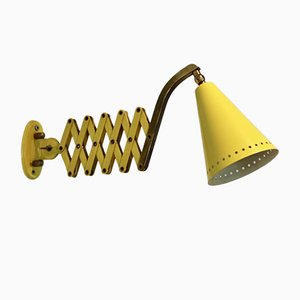 Brass and Yellow Scissor Sconce by H. Th. J.A. Busquet for Hala Zeist