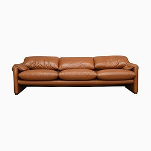 Italian Tan Leather Maralunga Sofa by Vico Magistretti for Cassina, 1970s