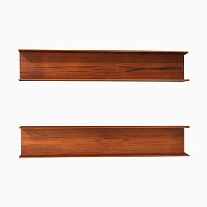 German Teak Floating Shelves by Walter Wirz for Wilhelm Renz, 1960s, Set of 2