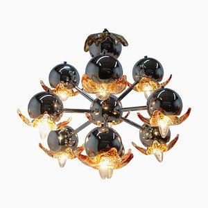 Lámpara de araña Sputnik estilo era espacial grande de cristal de Murano, años 70