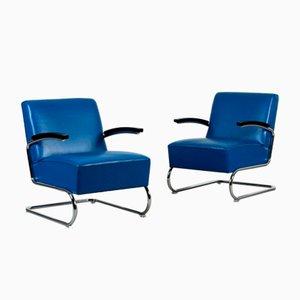 Blauer Bauhaus Modell S411 Freischwinger Sessel aus Leder von Thonet
