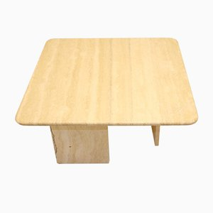 Table Basse Carrée en Travertine Vintage en Marbre