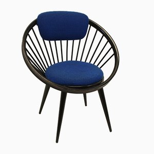 Vintage Black Circle Chair by Yngve Ekstrom for Swedese Meubel, 1960s