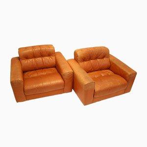 Club chair DS40 vintage in pelle color cognac di De Sede, set di 2