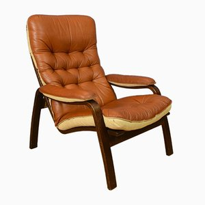 Mid-Century Danish Tan Leather and Bentwood Armchair from Sotka, 1970s