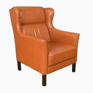 Mid-Century Danish Tan Leather Wingback Armchair, 1970s