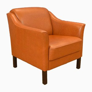 Mid-Century Danish Tan Leather Lounge Chair, 1970s