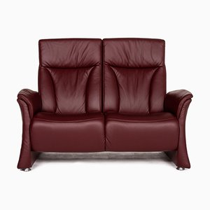 Red Trapeze Leather 2-Seater Electric Sofa from Himolla