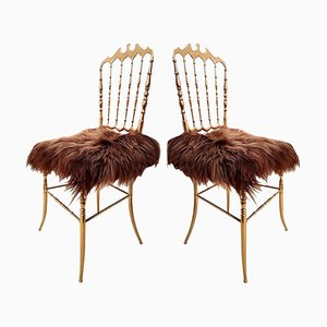 Italian Brass and Iceland Wool Chairs from Chiavari, 1960s, Set of 2