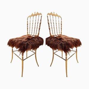 Italienische Stühle aus Messing & Islandwolle von Chiavari, 1960er, 2er Set