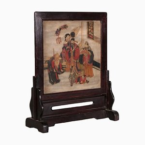 19th Century Chinese Wood and Marble Writing Screen