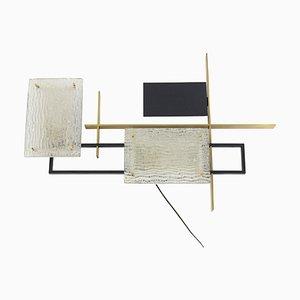 Aplique de vidrio, metal y bronce dorado de Maison Arlus, años 50