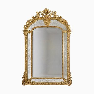 Large Louis XVI Style Giltwood Glazing Beads Mirror, 1880s