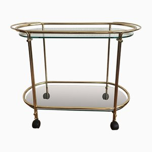 Golden Bar Cart with Glass Trays by Gae Aulenti, 1970s