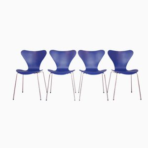 Blue 3107 Butterfly Chairs by Arne Jacobsen for Fritz Hansen, Set of 4