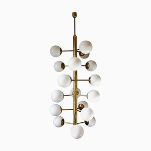 Large German Brass and Opaline Glass Chandelier, 1970s
