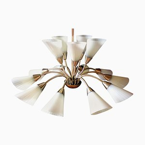 German Brass and Glass Butterfly Chandelier, 1950s