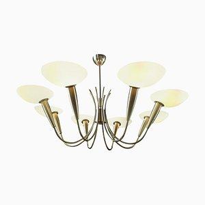 Italian Brass and Art Glass Chandelier, 1950s