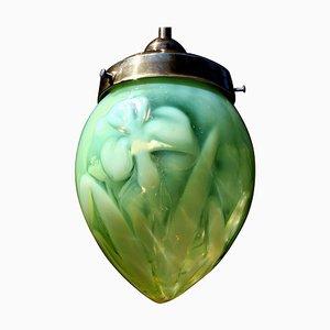 Art Nouveau Uranium Vaseline Glass Lantern, 1910s