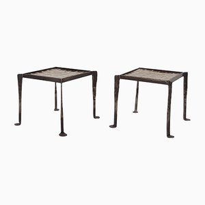 Iron Side Tables with Tile Tops, 1950s, Set of 2
