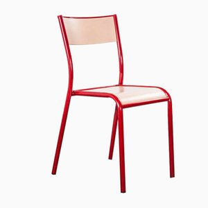 Red Laminated Stacking Dining Chairs from Mullca, 1970s, Set of 6