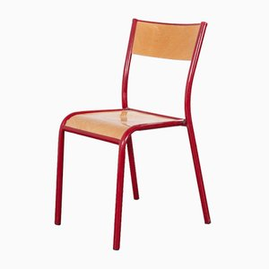 Red Beech Stacking Dining Chairs from Mullca, 1970s, Set of 17