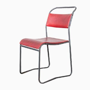 Tubular Metal Stacking Dining Chairs from PEL - England, 1950s, Set of 12