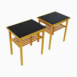 Mid-Century Swedish Oak and Glass Top Side Tables from Svenska Möbelinsdustrier, 1960s, Set of 2