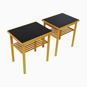 Tables d'Appoint Mid-Century en Chêne et Plateau en Verre de Svenska Möbelinsdustrier, Suède, 1960s, Set de 2